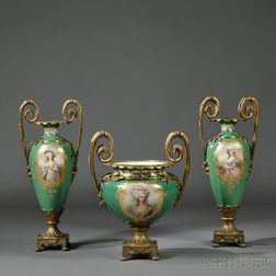 Three-piece Bronze-mounted Porcelain Garniture