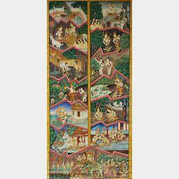 Thangka Depicting Jataka   Buddhist Tales