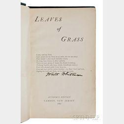 Whitman, Walt (1819-1892) Leaves of Grass,   Presentation Copy.