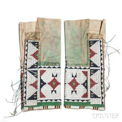 Pair of Arapaho Woman's Beaded Hide and Cloth Leggings