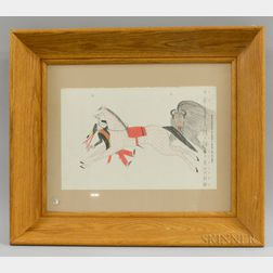 Framed Double-sided Oil on Board Depiction of a Horse and Bull