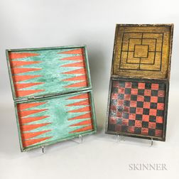 Two Polychrome Painted Fixed Folding Game Boards