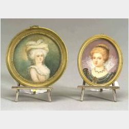 Two Portrait Miniatures with a Pair Cartier Sterling Silver Easels