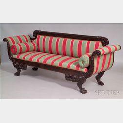 Classical Mahogany Carved and Veneered Sofa