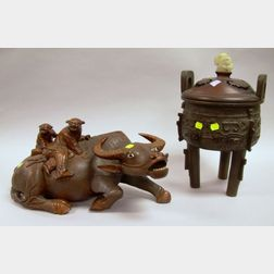 Chinese Bronze Incense Burner with Carved Hardwood Cover and Hardstone Finial and   an Asian Carved Hardwood Water Buffalo Figure