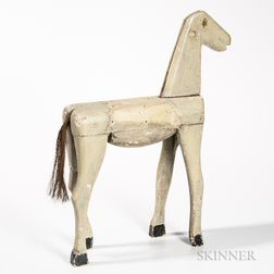 Carved and White-painted Folk Art Figure of a Horse