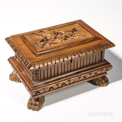 Black Forest-style Carved Walnut Tobacco Box