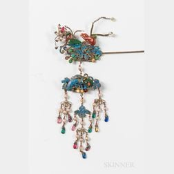 Ornamental Hairpin with Kingfisher Feather