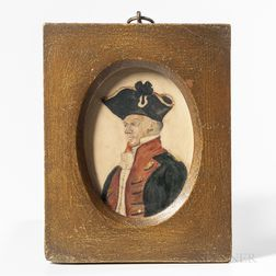 European School, 19th Century      Miniature Portrait of an Officer in a Blue and Red Coat