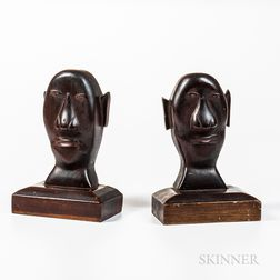 Pair of Carved Black Walnut Folk Art Bookends