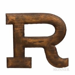 """Large Carved and Gilt Wooden Letter """"R,"""""""