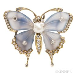 14kt Gold, Blue Chalcedony, and Diamond Brooch