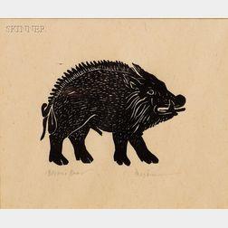 Leonard Baskin (American, 1922-2000)      Lot of Three Images:  Bacon's Boar