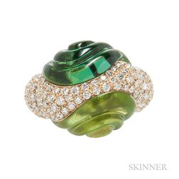 18kt Gold, Green Tourmaline, and Diamond Ring