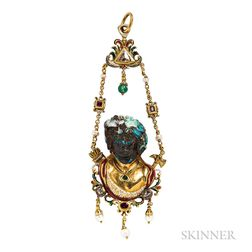 Unusual Renaissance Revival Gold Gem-set Pendant