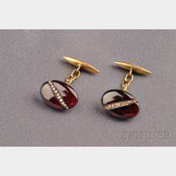 Antique 14kt Gold, Garnet and Diamond Cuff Links