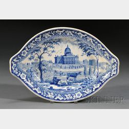 Historical Blue Transfer-decorated Pottery Boston State House Tureen Stand