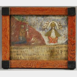 Latin American School, 20th Century      Retablo Depicting a Penitent and Enthroned Christ.