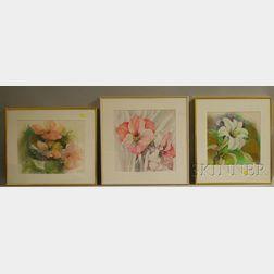 Denise Schwander (Swiss, b. 1945)      Three Framed Floral Watercolors: Amaryllis, Lily