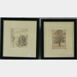 Ralph Albert Blakelock (American, 1847-1919)      Two Pencil Sketches of a Cottage and Tree.