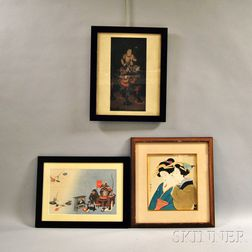 Three Framed Woodblock Prints
