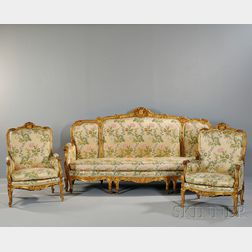 Louis XV-style Three-piece Giltwood Seating Suite