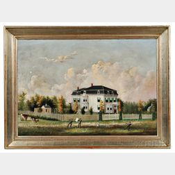 American School, Late 19th Century      Portrait of a White Mansard-roofed House with Family in Front Flying Kites