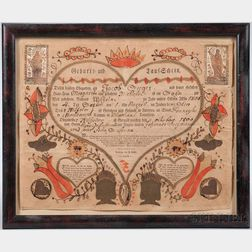 Watercolor-decorated Printed Birth Certificate Fraktur for Jacob Seeger