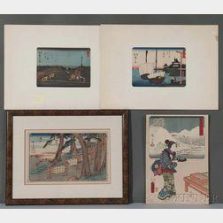 Kunisada and Hiroshige, Four Woodblock Prints