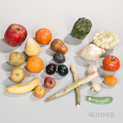Twenty-two Stone and Wax Fruits and Vegetables