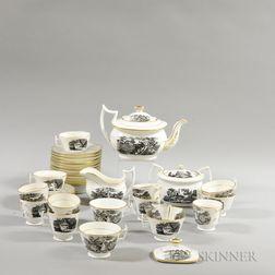 Thirty-four Black Transfer-decorated Ceramic Teaware Items.