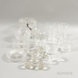 Twenty Pieces of Colorless Cut and Pressed Glass