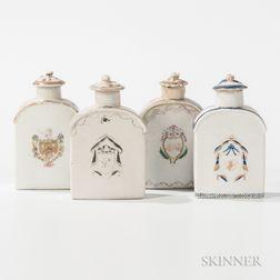 Four Armorial Export Porcelain Tea Caddies