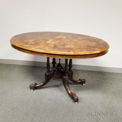 Rococo Revival Carved Walnut and Burl Veneer Tilt-top Breakfast Table