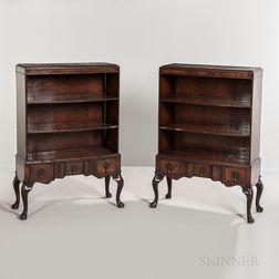 Pair of Georgian-style Walnut-veneered Open Bookcases