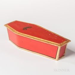 Red-painted and Gilt Miniature Odd Fellows Coffin