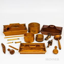 Group of Wooden Tableware and Accessories
