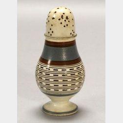Mochaware Baluster-form Pepper Pot