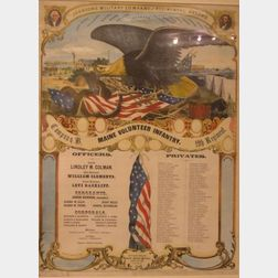 Framed Chromolithograph Johnsons Military Company and Regimental Record, Company B,   Maine Volunteer Infantry, 19th Regiment