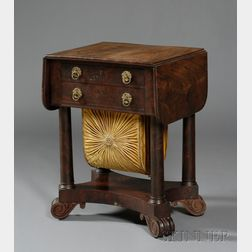 Classical Mahogany Carved and Mahogany Veneer Drop Leaf Work Table