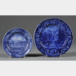 Two Historic Blue Transfer-decorated Staffordshire Pottery Plates