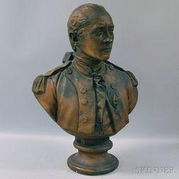 After Jean-Antoine Houdon, Painted Plaster Bust of John Paul Jones
