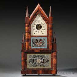 Birge & Fuller Mahogany Double Steeple Wagon Spring Clock