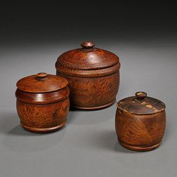 Three Graduated Putty-painted Treenware Covered Boxes
