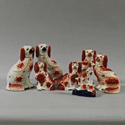 Seven Staffordshire Ceramic Spaniels