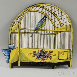 Polychrome Faience Plaque of a Bird and Birdcage