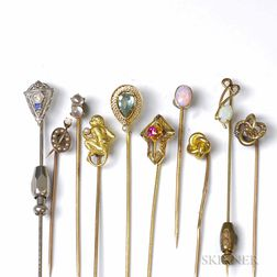 Ten Antique Gold Stickpins