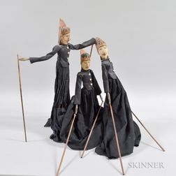 Three Continental Carved Wood and Cloth Puppets.     Estimate $100-150