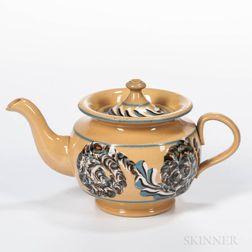 Slip-decorated Yellowware Teapot