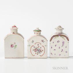 Three Export Porcelain Tea Caddies